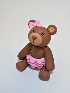 Brown Teddy Bear with Tutu and Bow Cake Topper Fondant Birthday Baby Shower Custom Color Option Fondant Cake Toppers, Cupcake Toppers, Cupcake Cakes, Fondant Decorations, Baby Shower Decorations, Fondant Teddy Bear, Sugar Dough, Bow Cakes, Brown Teddy Bear
