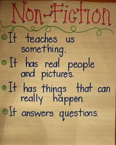nonfiction anchor chart