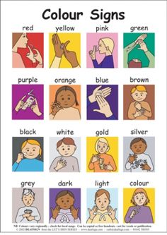"Deaf and Hard of hearing- not ASL but still interesting! Based on the spelling of ""colour"" I would guess British Sign Language! Sign Language For Kids, Sign Language Phrases, American Sign Language, Teaching Baby Sign Language, Baby Sign Language Chart, Sign Language Colors, Learn Sign Language Free, British Sign Language Alphabet, British Sign Language Dictionary"