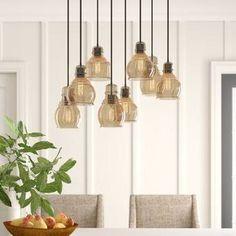 Manon 8-Light Cluster Bell Pendant & Reviews | Birch Lane 3 Light Pendant, Pendant Lights, Traditional Pendant Lighting, Edison Lighting, Island Pendants, Farmhouse Kitchen Decor, Birch Lane, Fabric Shades, Beautiful Lights