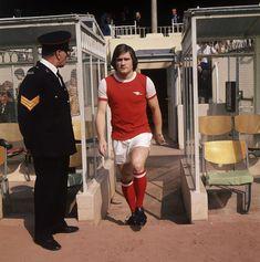Arsenal footballer Pat Rice walking out onto Highbury..