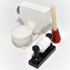 LEGO Decor: Toilet Bowl Set - with Plunger & Toilet Paper [custom,minifig,set] in Toys & Hobbies | eBay