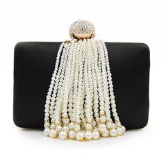 Banquette Clutch Chain Pearl Brass Diamonds Pearls 9b5d80797138