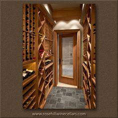 Rosehill - gray slate floor custom cellar. Build your own beautiful #wineroom with Rosehill Wine Cellars #winestorage experts!