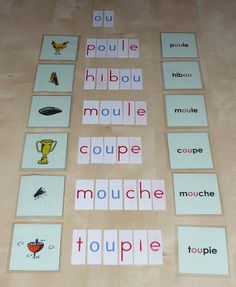 How to teach your child complex phoneme words. Montessori Education, Montessori Materials, Learning Activities, Kids Learning, International High School, Hebrew School, Maria Montessori, French Lessons, Teaching French