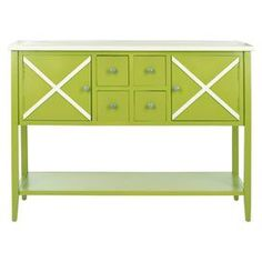 "Green poplar credenza with a criss-cross design.   Product: CredenzaConstruction Material: Poplar woodColor: Green and white Features: Two doors and four drawers Dimensions: 34.2"" H x 45.8"" W x 14.9"" D"