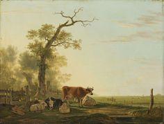 Jacob van Strij | Meadow Landscape with Animals, Jacob van Strij, 1800 - 1815 | Weidelandschap met vee. Bij een houten schutting onder een oude boom liggen enkele koeien en schapen. Op de achtergrond uitgestrekte weilanden met in de verte een melkmeid en vee.