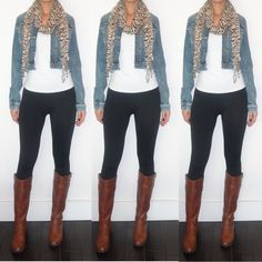 Love this look!! Leggings with flat knee high boots, denim jacket, animal print scarf. Casual easy to put together outfit.