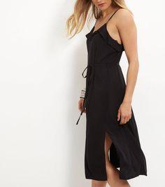 Black Frill Trim Tie Waist Split Side Midi Dress    New Look