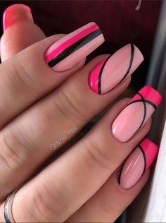 Mar 15 2020 60 Pretty Pink Short Square Nails For Spring Nails. Best Picture For spring nails desi Bright Summer Acrylic Nails, Cute Acrylic Nails, Cute Nails, Gel Nails, Dark Nails, Coffin Nails, Square Nail Designs, Pink Nail Designs, Nail Designs Spring