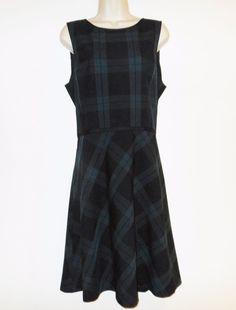 e3d3deed89 Ann Taylor LOFT 14 L Dress Black Watch Plaid Fit Flare Jumper Green Black  Blue  AnnTaylorLOFT  JumperFitFlare  Casual