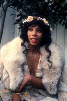Ahead of the trend: Donna Summer in a flower crown circa '76. Loved her!