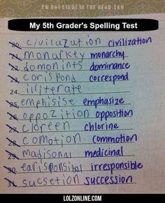 My 5th Grader's Spelling Test#funny #lol #lolzonline