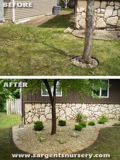 A before and after by Sargent's Nursery. Stone edging.