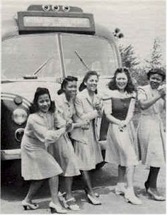Ladies from the International Sweethearts of Rhythm, an all-female jazz band from the '40s, doing SuzieQs outside their tour bus. Photo courtesy of band member Roz Cron.