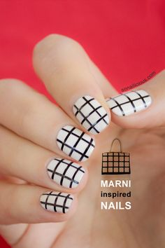 Marni inspired - black and white nails #nailart #nails #marni