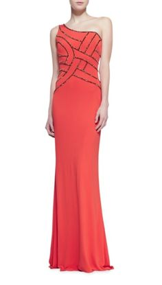 David Meister One-Shoulder Sequined Bodice Gown @Neiman Marcus