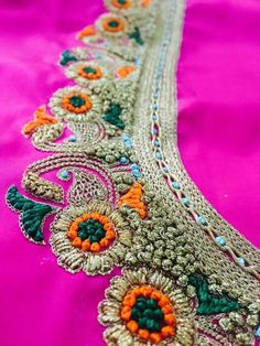 Thread work embroidery Pattu Saree Blouse Designs, Bridal Blouse Designs, Blouse Neck Designs, Kurta Designs, Blouse Patterns, Zardozi Embroidery, Embroidery Works, Hand Embroidery Designs, Hand Work Design
