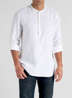 A handsome collarless shirt crafted from lightweight linen with classically designed with button-tabbed roll-up sleeves giving an old school looks appeal. Short Kurta For Men, Casual Shirts For Men, Men Casual, Linen Shirts For Men, Banded Collar Shirts, White Shirt Men, Men Shirt, Kurta Men, Mens Kurta Designs