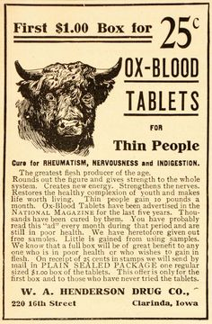 """CURE: Original 1907 black and white print ad for Ox-Blood Tablets for thin people and a """"cure for rheumatism, nervousness, and indigestion"""" from the W. A. Henderson Drug Co."""
