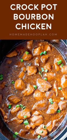 "Crock Pot Bourbon Chicken! A ""base"" recipe for bourbon chicken made right in your crock pot. Many flavors make up the dish, and you can easily adjust the amounts to suit your taste! 