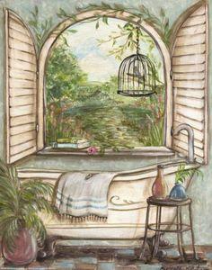 Serene Bath I Print by Kate McRostie at Art.com