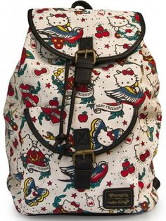 """""""Hello Kitty Tattoo"""" Canvas Backpack by Loungefly (Beige) - 1"""
