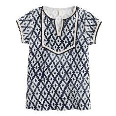 Boho Chic: Girls' Terry Beach Dress in Diamond Print, J.Crew