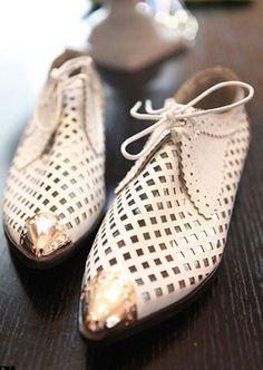 Shoes: White Metal Cap Toe Flats
