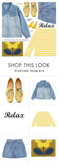 """Denim & Stripes"" by katjuncica ❤ liked on Polyvore featuring Stubbs & Wootton, Orla Kiely and Loewe"