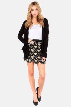 Drop a Bombshell Black Sequin Skirt