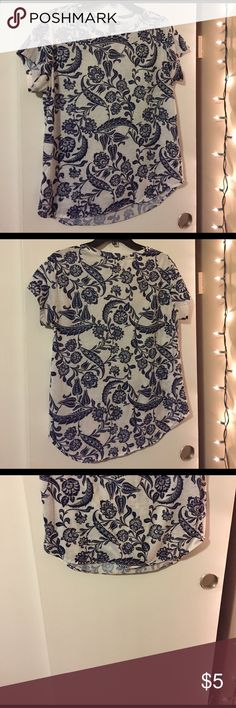 Paisley Shirt Long shirt with a scoop bottom and purple designs Forever 21 Tops