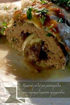 Γεμιστό ρολό με καραμελωμένα κρεμμύδια και μοτσαρέλα Cookbook Recipes, Meat Recipes, Dessert Recipes, Cooking Recipes, Food N, Food And Drink, Minced Meat Recipe, Low Sodium Recipes, Greek Cooking