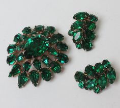 Green Rhinestone Brooch  Earrings Demi Set 1960s by PastSplendors