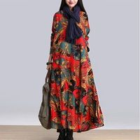 2015 Autumn Winter Hippie Boho Long Gypsy Tunic Dress Maxi Loose Plus Size Flower Print Ankle Length Elegant Gipsy Dresses XL