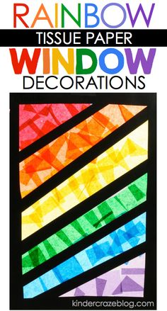 """stained glass"" window decorations made from tissue paper and contact paper"