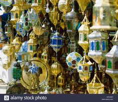 Download this stock image: Lanterns for sale in the souk near the Djemaa el Fna (Jemaa el Fna), Marrakech (Marrakesh), Morocco, North Africa, Africa - ARJGGH from Alamy's library of millions of high resolution stock photos, illustrations and vectors.