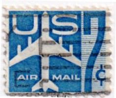 US Air Mail stamp, 7 cents.  Issued 1958.  Scott catalog C51.