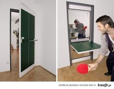 Ping pong table in a door (table frame is 2 inches from surrounding door and has a metal rod in center). I think they make these in Germany