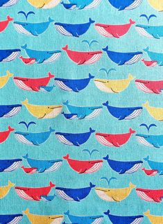 Whales in a Row Multi / Canvas Fabric Japanese by SpindleandRose