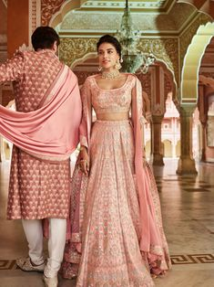 A beautiful palette of emerald baby pink and silver : designed by Anita Dongre Couture Bridal outfit Ideas, Bridal Dresses, Bridesmaid dresses, Indian Bridal outfit, Indian Wedding dresses Pink Bridal Lehenga, Designer Bridal Lehenga, Indian Bridal Lehenga, Lehenga Choli Wedding, Silk Lehenga, Pakistani Bridal, Indian Bridal Outfits, Indian Designer Outfits, Indian Dresses