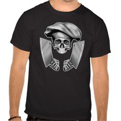 Chef Skull: Butcher Knives Shirt. Chef skull wearing black chef hat and wielding large meat cleavers ready to chop.