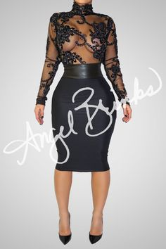 "Be the ""Main Attraction"" at that big event you've been patiently waiting for thats around the corner. Get ready to win ""Best Dressed"" with this sexy, see-through top and black bottom.  The skirt is Lycra and the waist band is Pleather. Measurements are strongly REQUIRED when ordering for accuracy. Please provide us with your Bust, Waist, Hip, Shoulder to shoulder, Shoulder to wrist, and upper arm width measurements in the notes section when you make your purchase!"