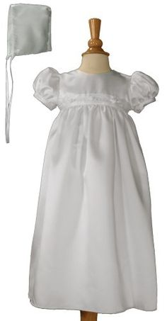 White Satin Christening Baptism Gown with Rosette Trim and Bonnet: http://www.amazon.com/White-Christening-Baptism-Rosette-Bonnet/dp/B0029X0NJY/?tag=greavidesto05-20