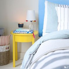 Blue and yellow bedroom scheme