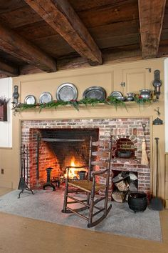 remodeled farmhouse kitchen fireplace