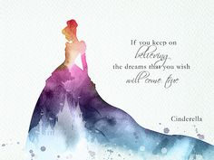 Cinderella believe quote watercolor art on white paper. Cinderella Quotes, Disney Princess Quotes, Disney Princess Pictures, Disney Pictures, Cute Disney Quotes, Disney Love, Disney Magic, Disney Art, Cute Disney Wallpaper