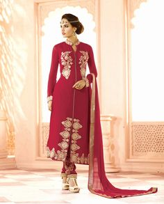 Dark red front slit suit with floral lehenga and embroidered palazzo   1. Dark red poly georgette front slit suit2.  Golden thread embroidery on hemline3.  Comes with matching santoon bottom bhagalpuri lehenga and chiffon dupatta4. Can be stitched upto size 44 inches