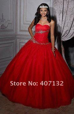 vestidos de xv años color rojo - Buscar con Google