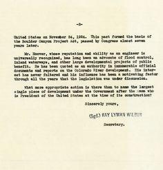 Letter from Secretary Lyman Wilbur to John D. Reavis; October 3, 1930_Naming Hoover Dam_Page 2 of 2_Herbert Hoover Online Digital Library